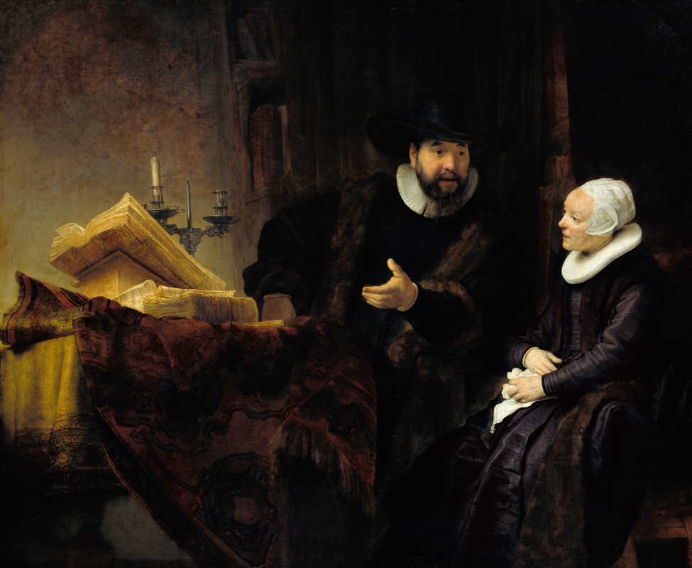 Rembrandt Harmenszoon van Rijn. The Mennonite pastor Cornelis Anslo and his wife