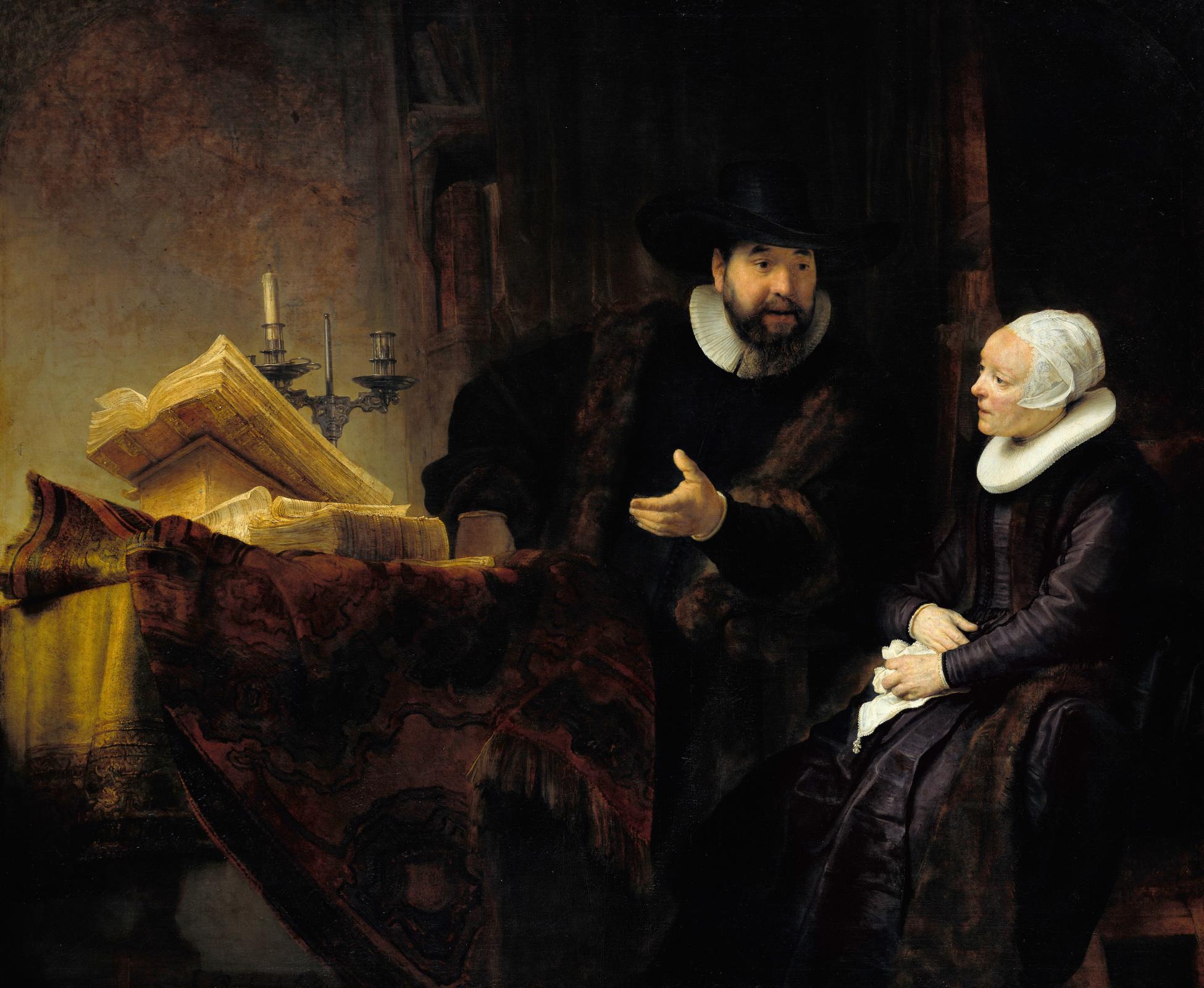 Рембрандт Харменс ван Рейн. Меннонитский пастор Корнелис Ансло и его жена