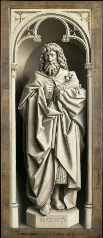 Ян ван Эйк. Гентский алтарь с закрытыми створками. Иоанн Креститель (фрагмент)