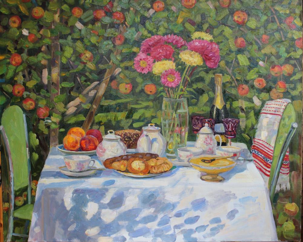 Eugene Alexandrovich Kazantsev. Still life. Under an old apple tree.