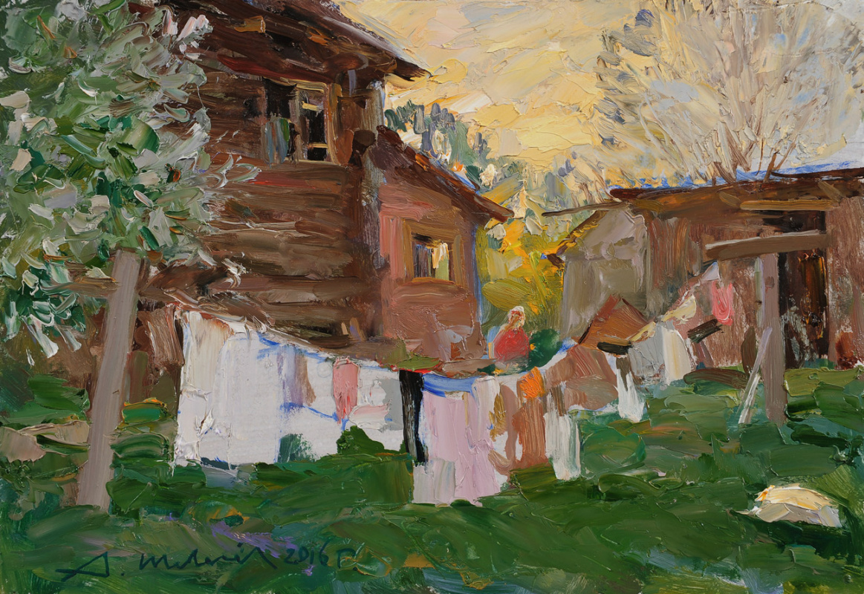 Alexander Victorovich Shevelyov. Evening in Sherehovichi. D.V.P. Oil 22.5 x 32 cm. 2016