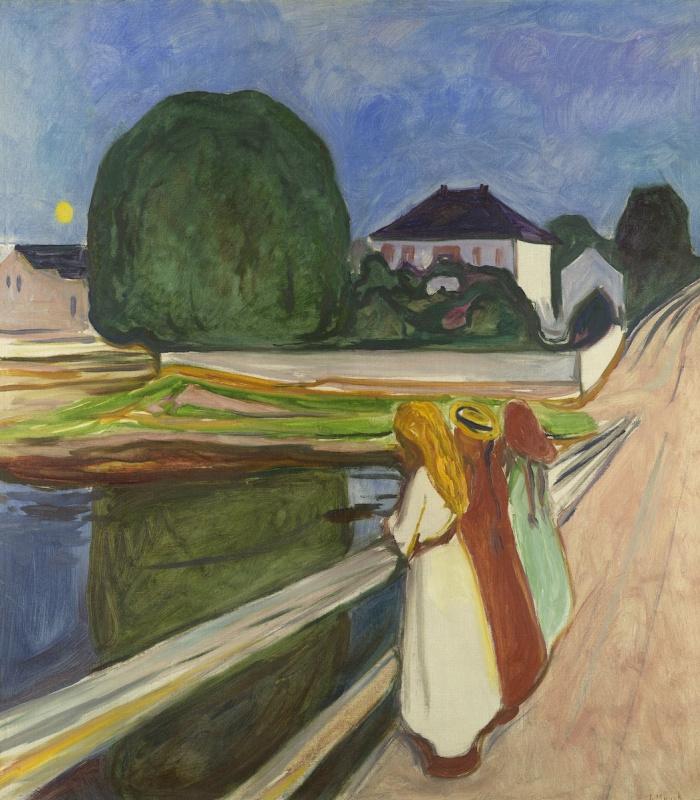 Edvard Munch. White night. Asgardstrand (Girl on the bridge)