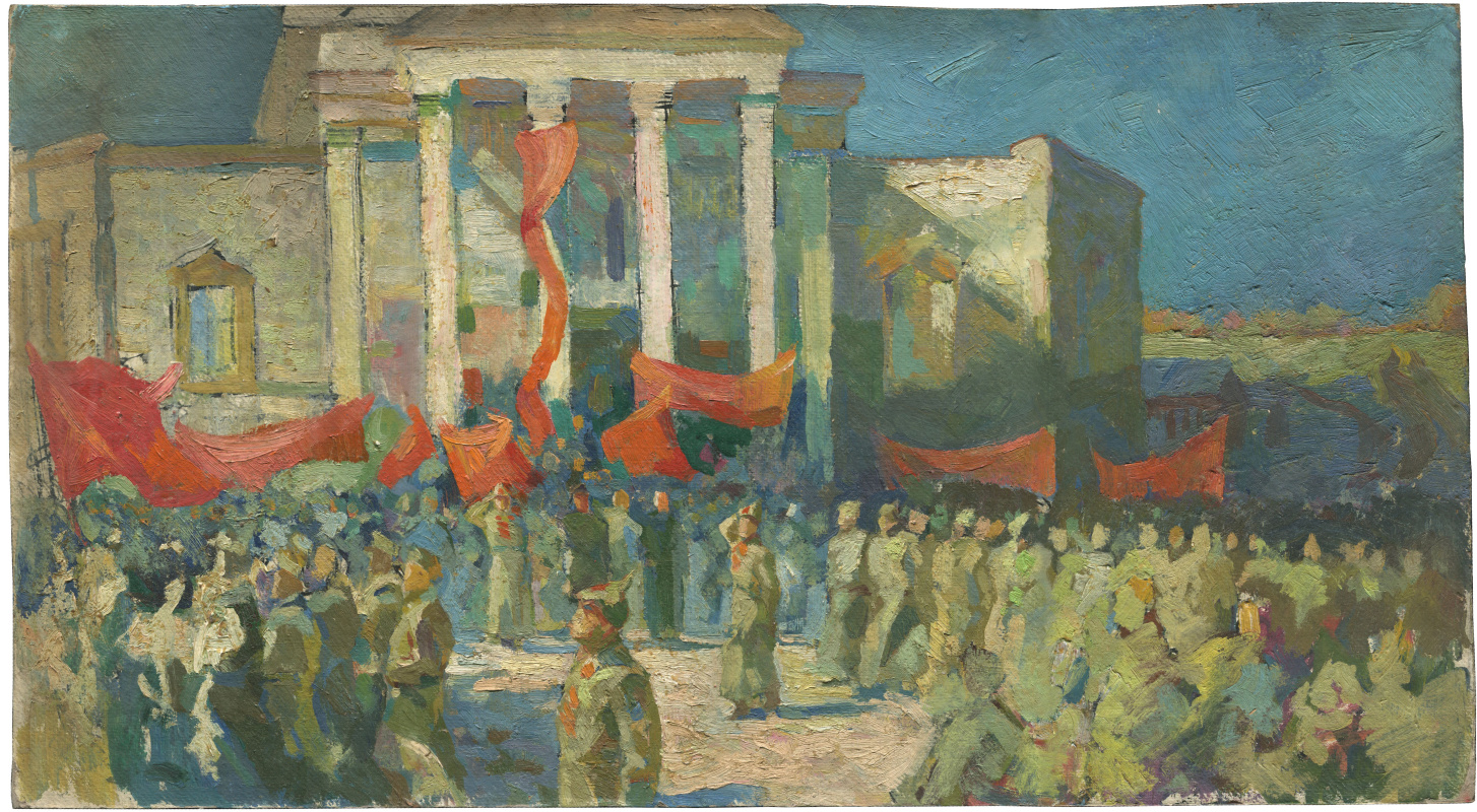 Alexandrovich Rudolf Pavlov. The parade (rally?) At the People's House (now Youth Theater) on the current Revolution Square in the city of Chelyabinsk, the beginning of the 20th century. (1919?)