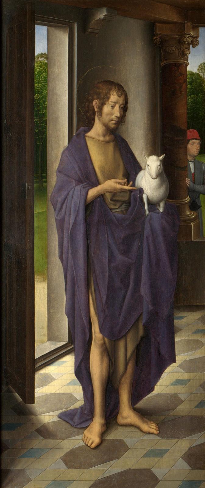Ганс Мемлинг. Святой Иоанн Креститель. Триптих Донна. Левая створка.