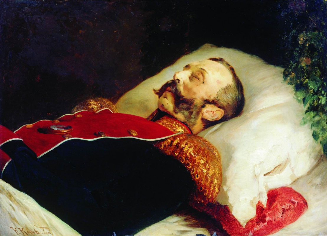 Konstantin Makovsky. Portrait of Alexander II on his deathbed