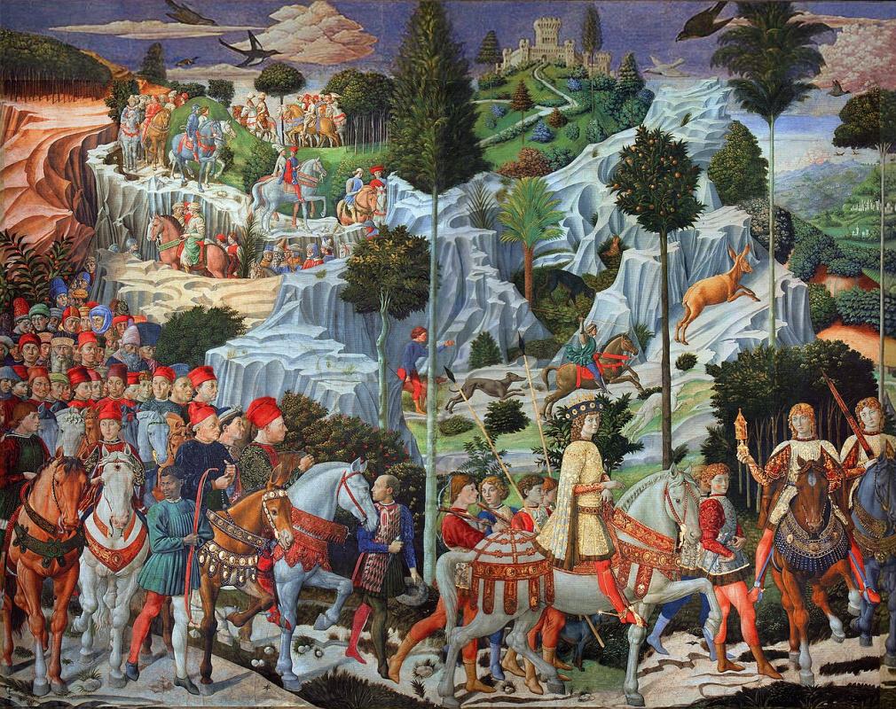 Беноццо Гоццоли. Капелла волхвов. Фрагмент с шествием волхвов
