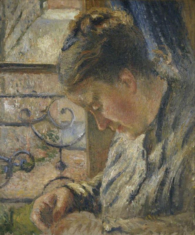Камиль Писсарро. Мадам Писсарро шьёт у окна