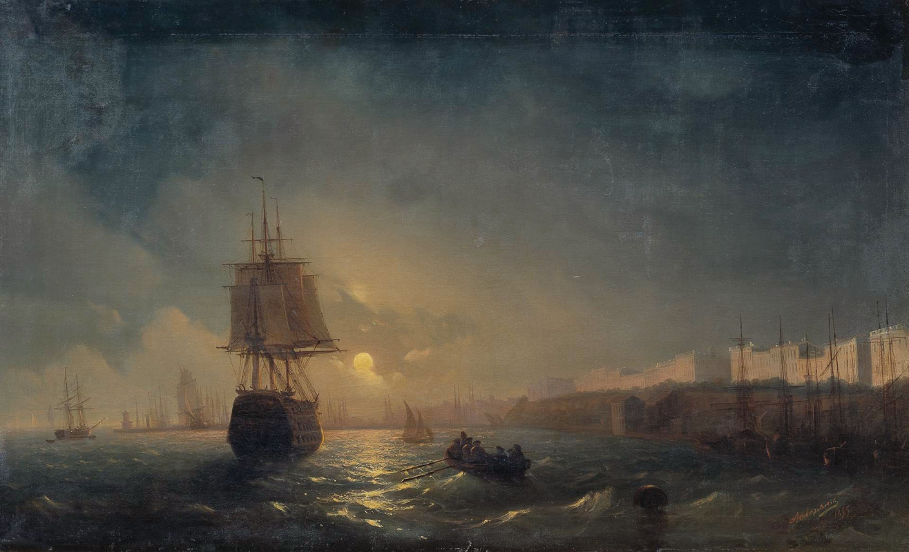 Ivan Aivazovsky. View of Odessa on a moonlit night. Repetition of the same pattern