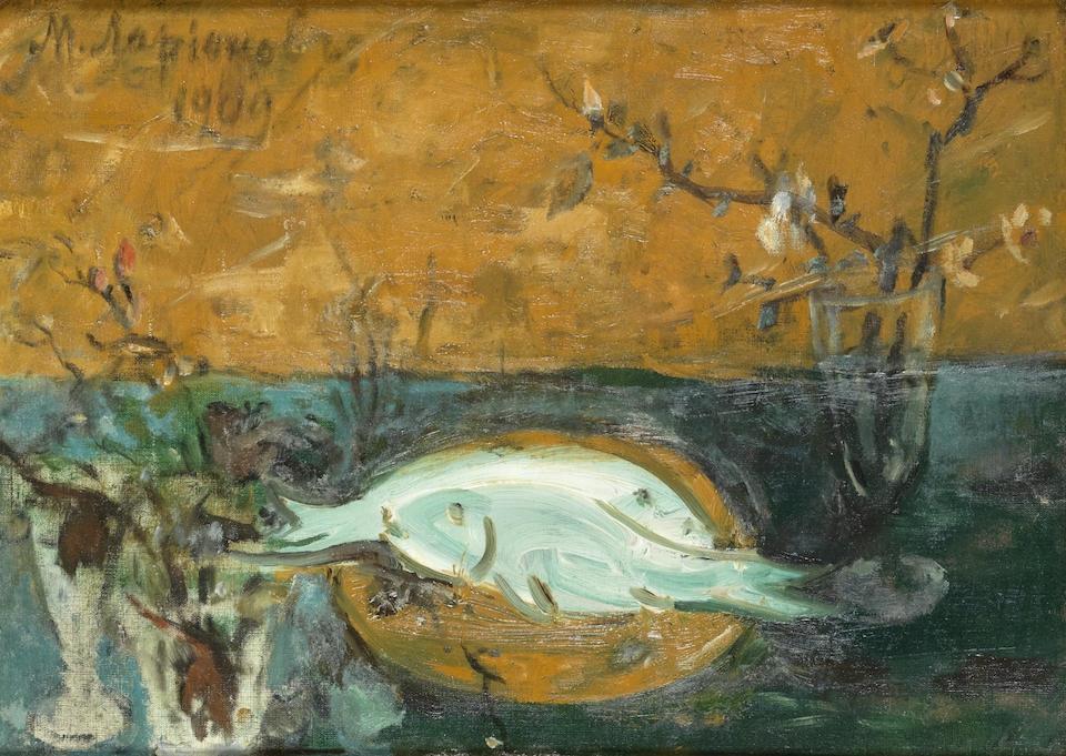 Михаил Федорович Ларионов. Натюрморт с рыбой и цветами