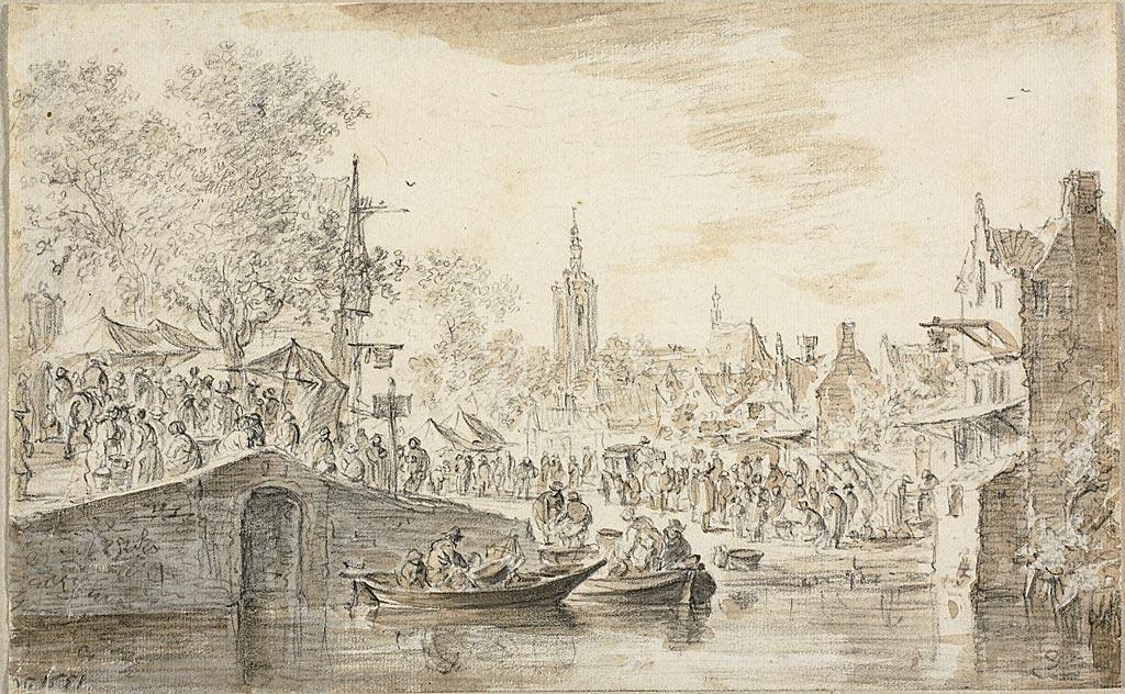Jan van Goyen. The market near the canal