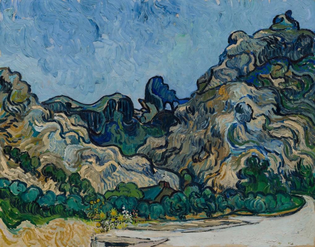 Vincent van Gogh. Hills near Saint-Remy with a dark house