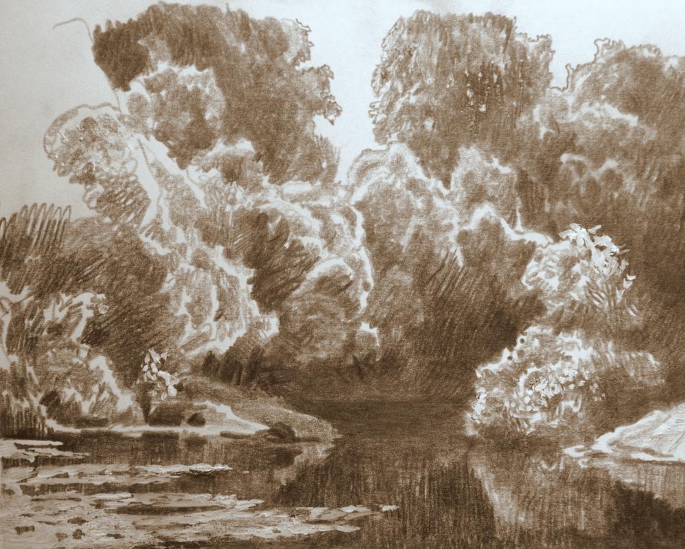 Oleg Borisovich Zakharov. Summer, pond.