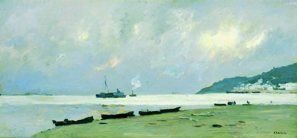Isaac Levitan. Yuryevets. Cloudy day on the Volga