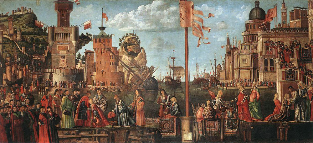 Vittore Carpaccio. Meeting the groom and Departure for pilgrimage. Scene from the life of St. Ursula