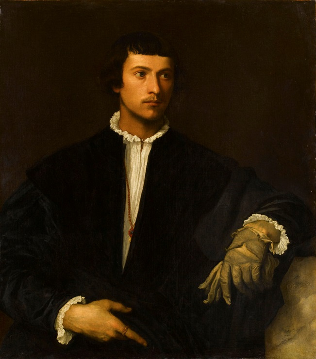 Тициан Вечеллио. Портрет молодого человека с перчатками