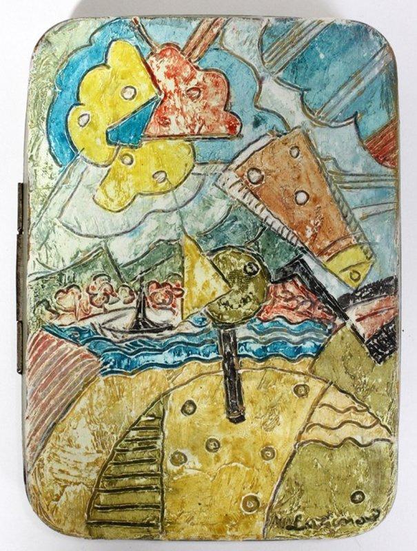 Михаил Федорович Ларионов. Пейзаж (Роспись крышки оловянной шкатулки)