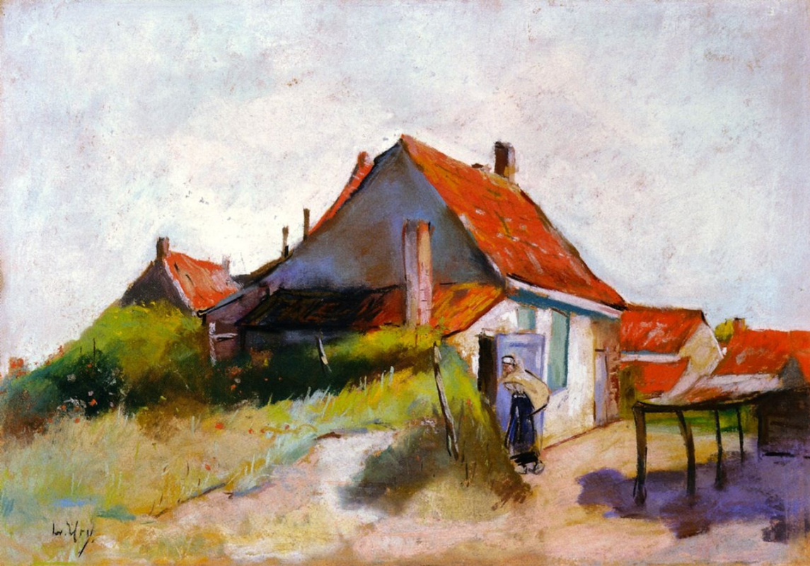 Lesser Ury. House with red roofs (Holland)