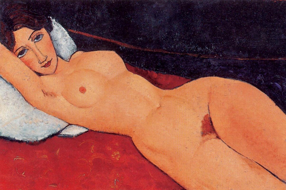 Amedeo Modigliani. Nude on white pillow