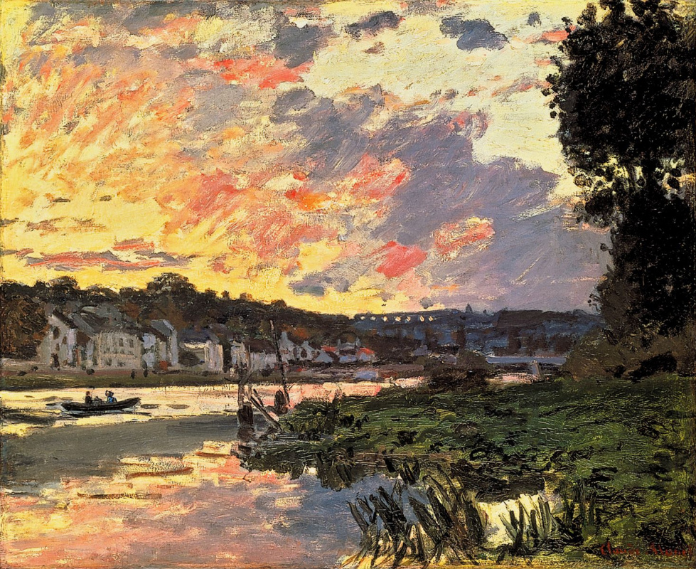 Claude Monet. The Seine at Bougival in the evening