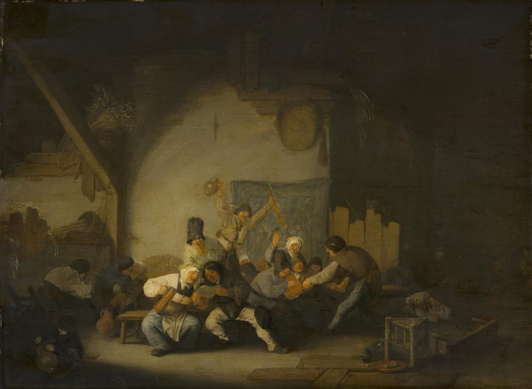 Adrian Jans van Ostade. Merry peasants
