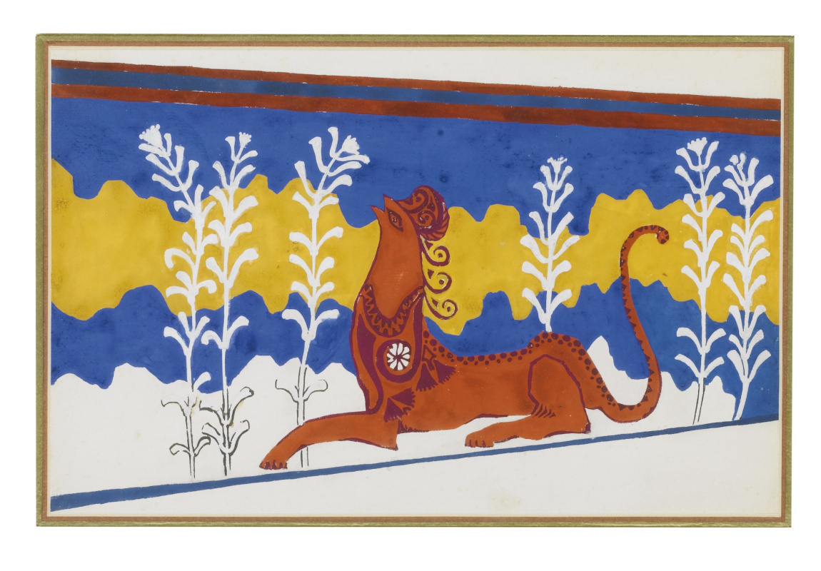 """Lev Samoilovich Bakst (Leon Bakst). Sketch of the frieze on the stairway for the tragedy of """"Phaedra"""""""