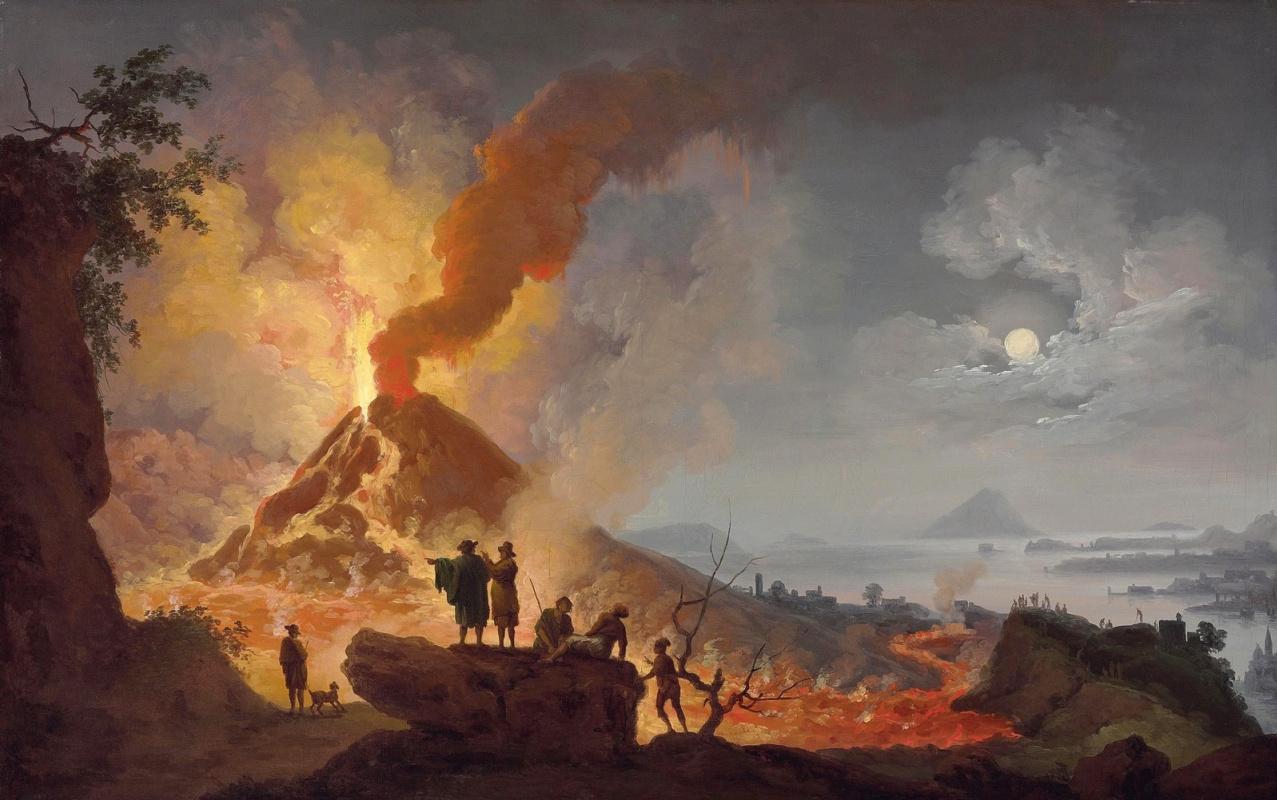 Pierre-Jacques Woller. View of the eruption of Vesuvius from Atrio del Cavallo H. M. 56.8 x 89.9