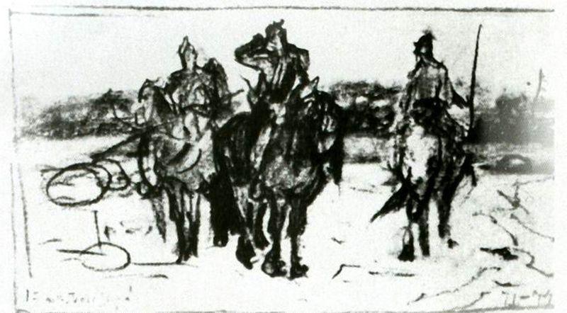 Victor Mikhailovich Vasnetsov. Heroes (sketch)