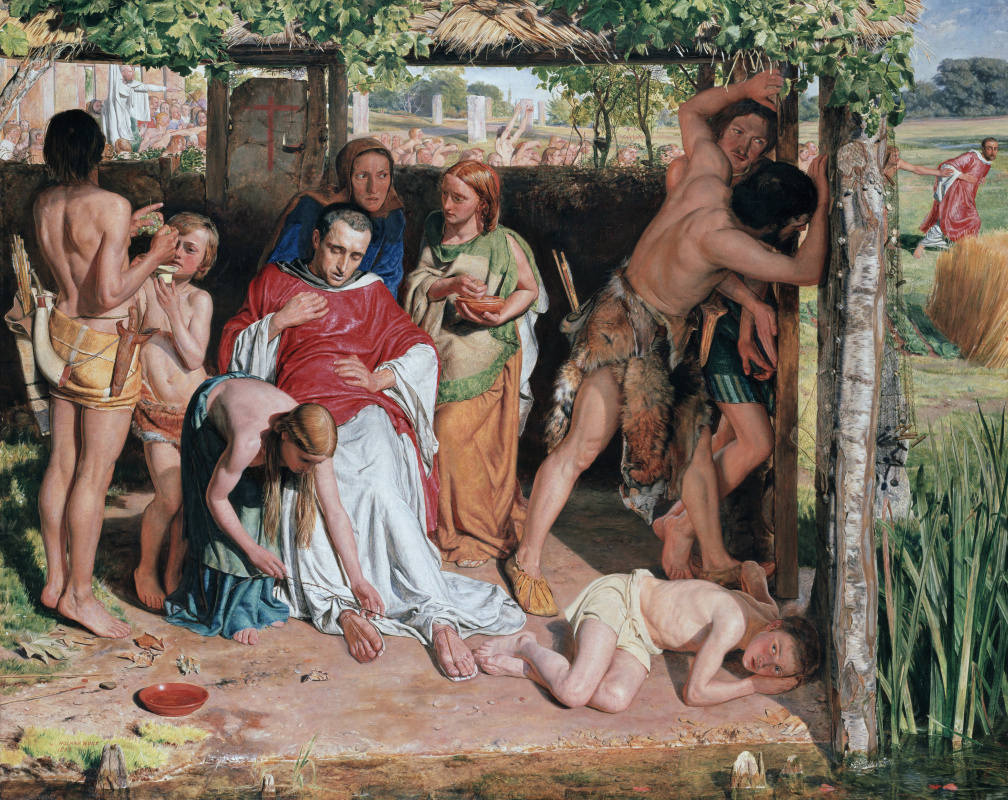 William Holman Hunt. Converted British family sheltering a Christian missionary from the persecution of the druids