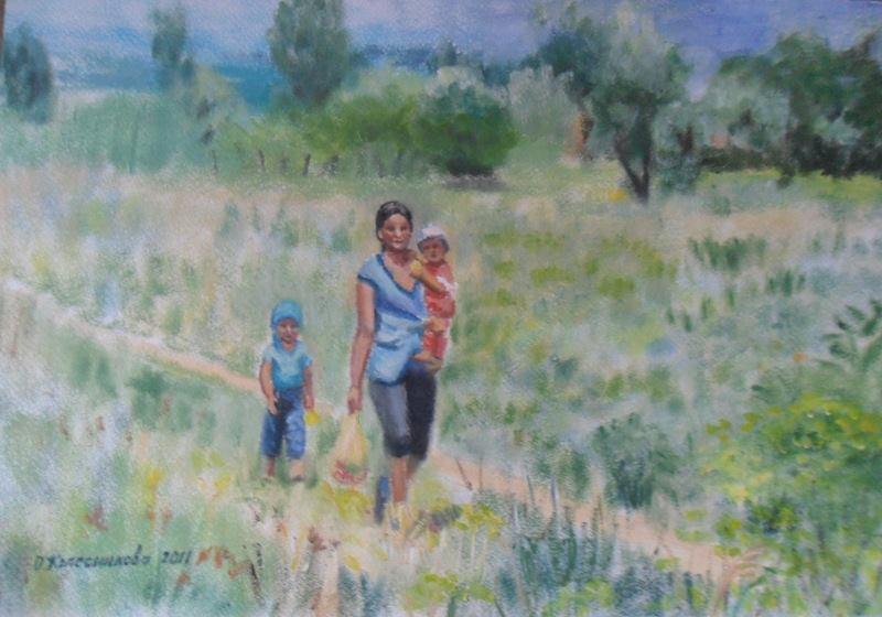 Ольга Владимировна Михайленко. Мать с детьми. За пос. Алатау.