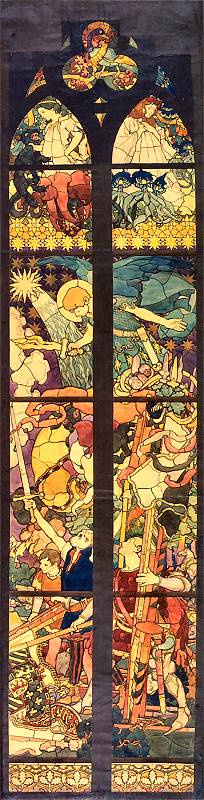 Юзеф Мехоффер. Эскиз для витража «Богоматерь Победы» в кафедральном соборе Фрибурга