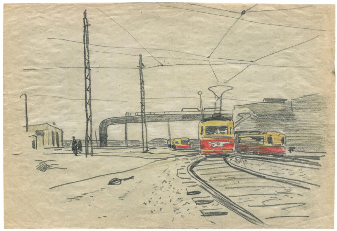 Alexandrovich Rudolf Pavlov. Sketch at the tram stop. Chelyabinsk. 1962