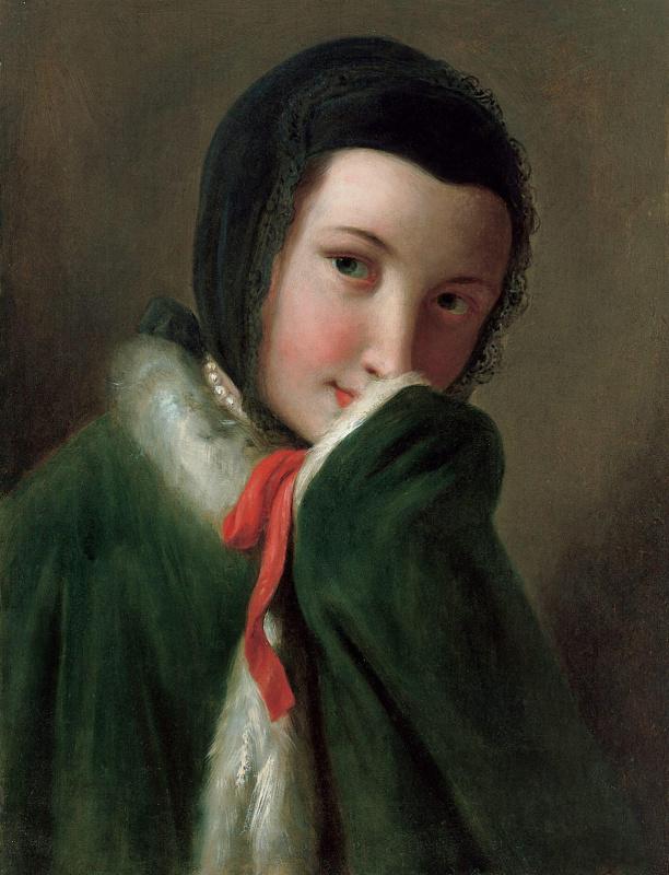 Портрет женщины с черным кружевным шарфом, зеленым пальто с белым мехом