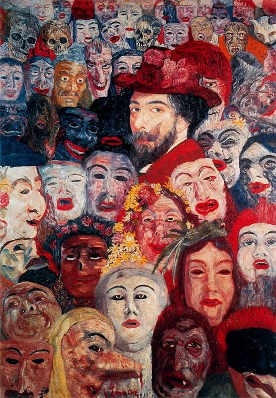 "James Ensor. ""Self-portrait with masks"""