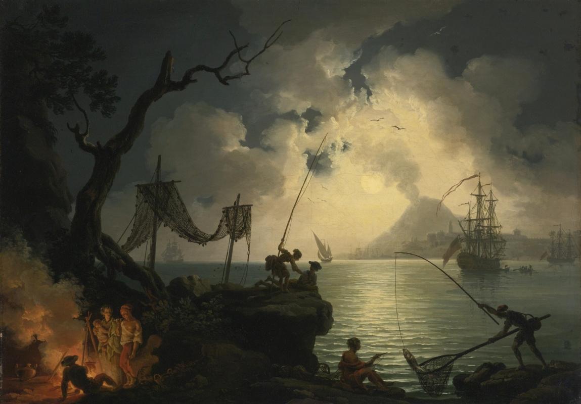 Пьер-Жак Волер Франция. Средземноморский ночной пейзаж с Везувием вдали.