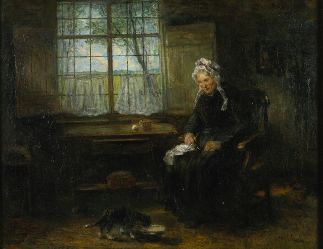 Joseph Israel. With knitting by the window