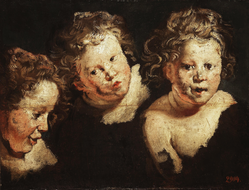 Jakob Jordaens. Three etudes of a children's head