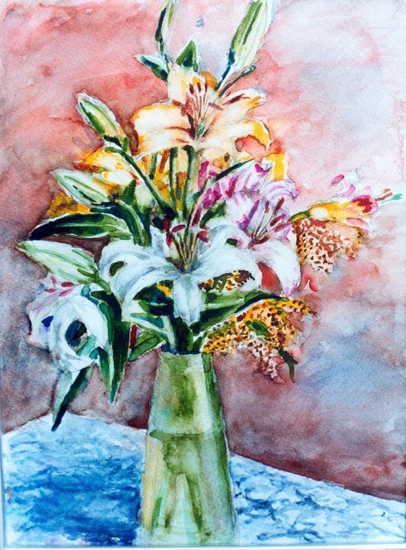 Suren Badalyan. Flowers and blue tablecloth