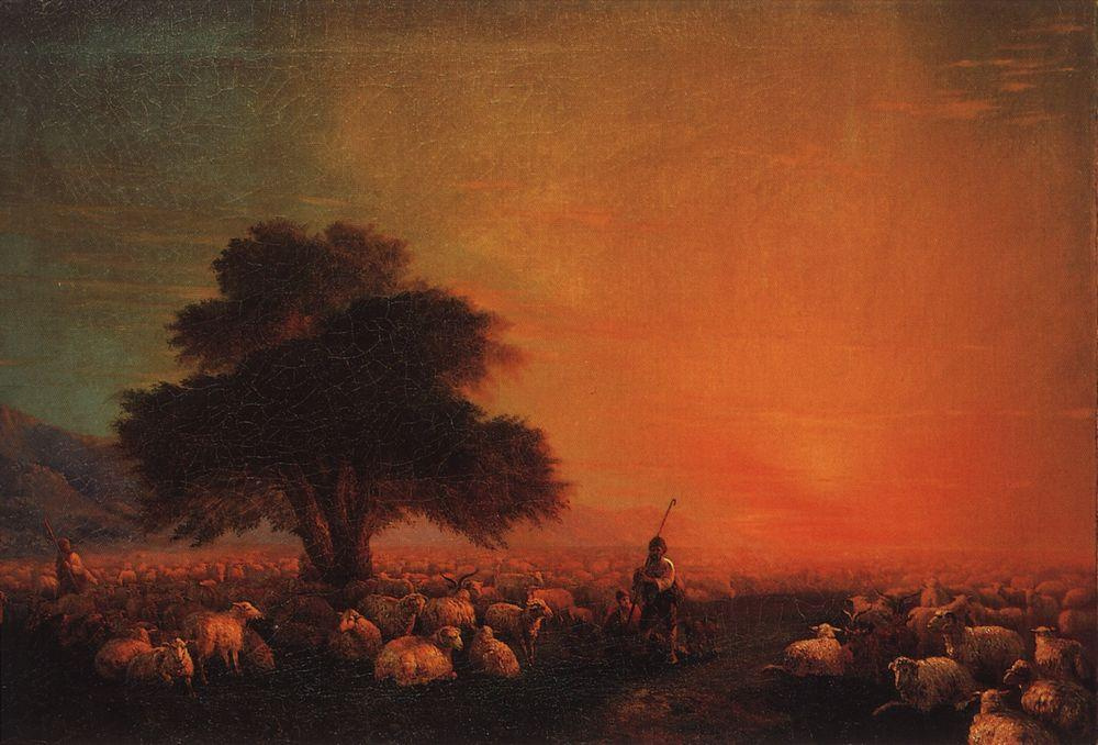 Ivan Aivazovsky. The sheep in the pasture