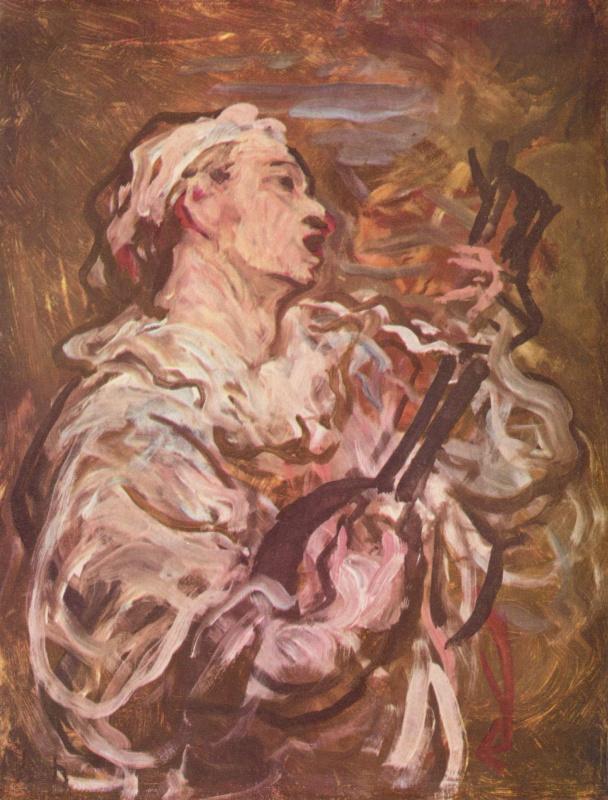 Оноре Домье. Пьеро с гитарой