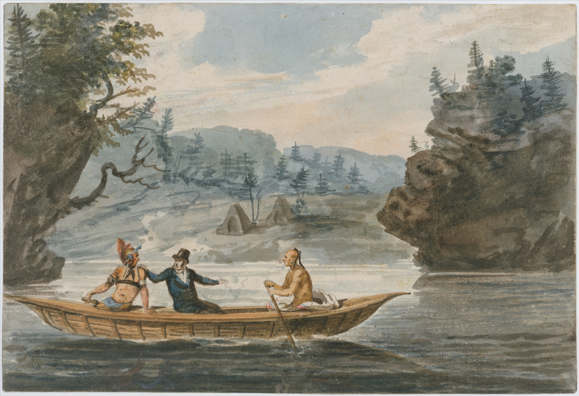 Pavel Petrovich Svinin. Two indians and a white man on a canoe