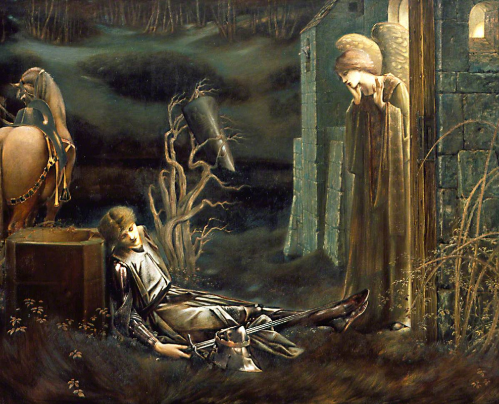 Edward Coley Burne-Jones. Lancelot in the Holy Grail Chapel