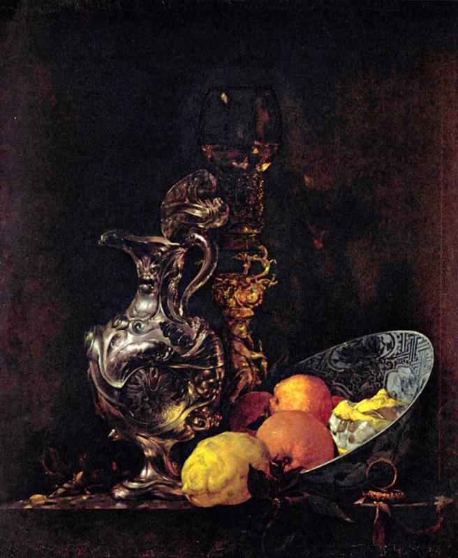 Виллем Кальф. Натюрморт с кувшином и фруктами