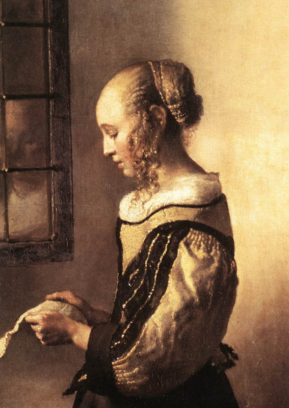 Jan Vermeer. Girl with a letter at an open window. Detail