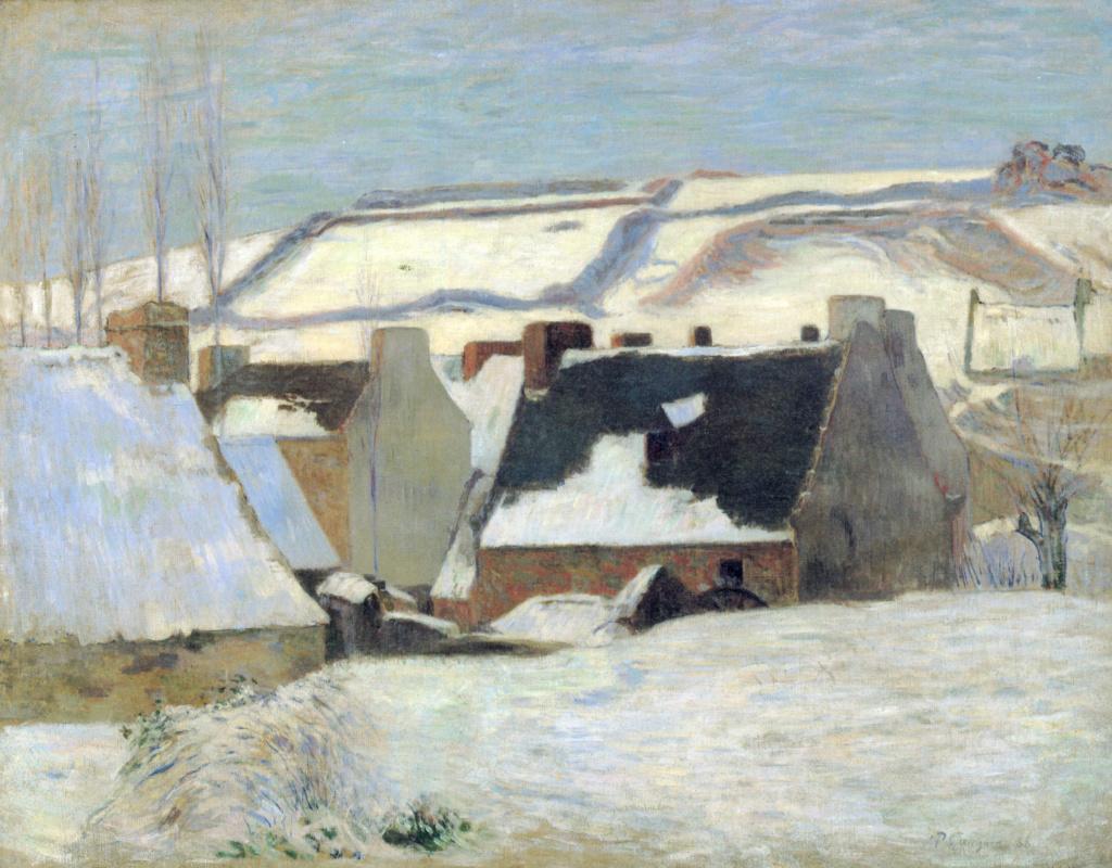Поль Гоген. Бретонская деревня в снегу