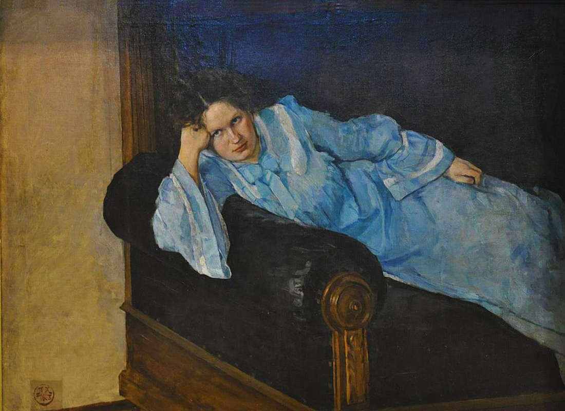 Peter Ivanovich Cold. Portrait of the artist's wife in a blue dress