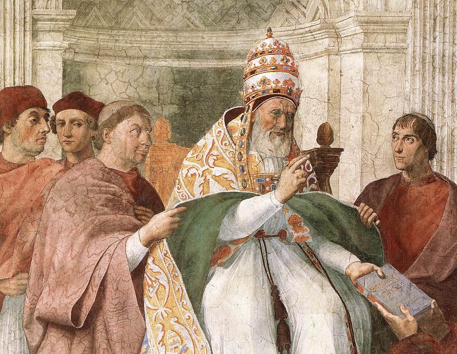 Рафаэль Санти. Папа Григорий Девятый утверждает декреты. Фрагмент