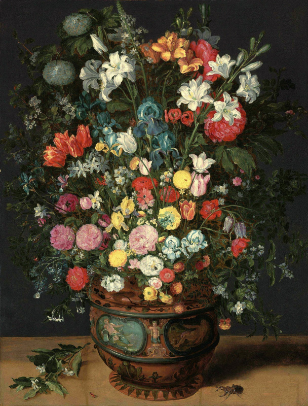 Jan Brueghel the Younger. A large bouquet of lilies, irises, tulips, orchids and peonies in a vase decorated with images of Amphitrite and Ceres