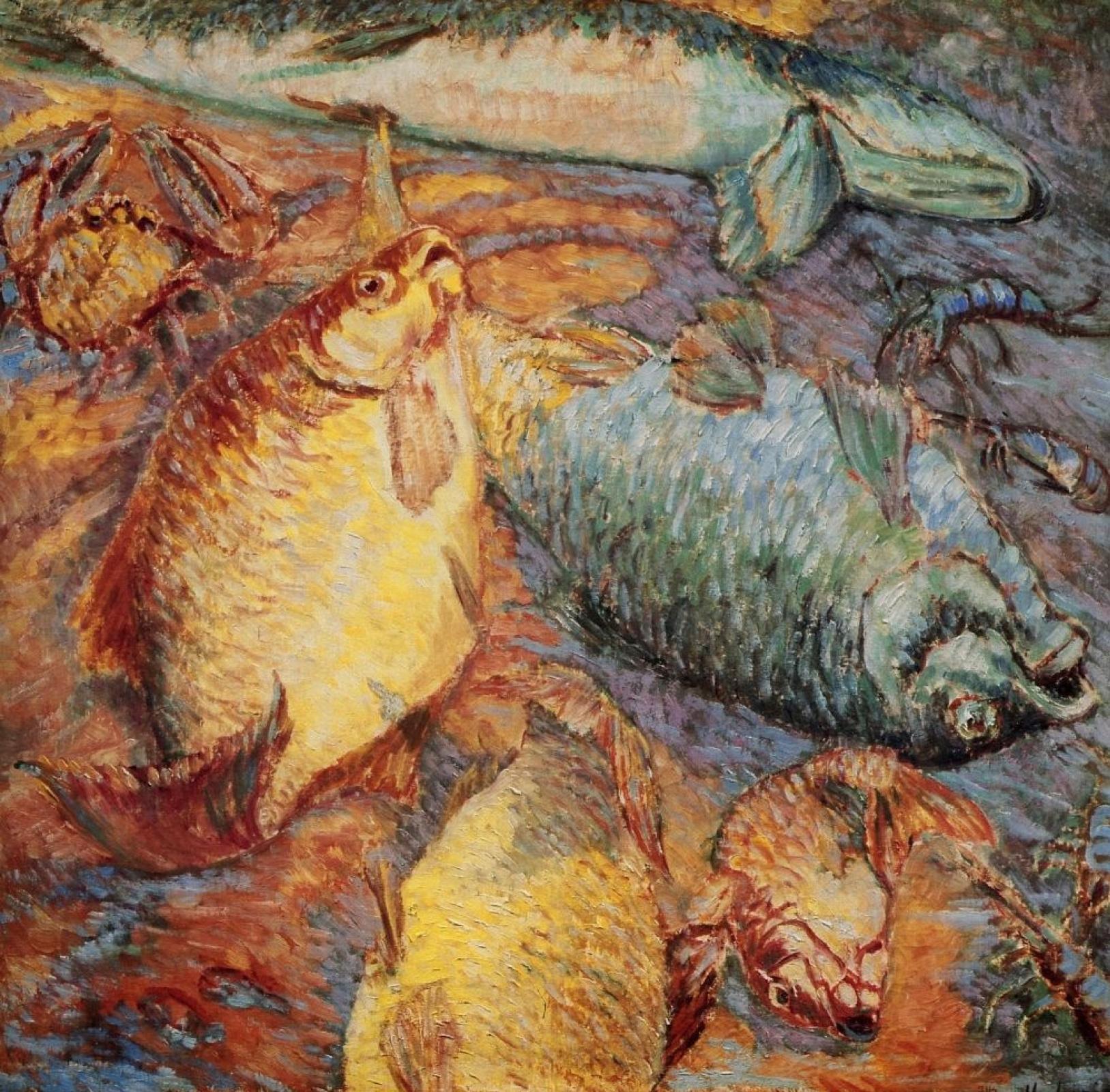 Михаил Федорович Ларионов. Рыбы при заходящем солнце