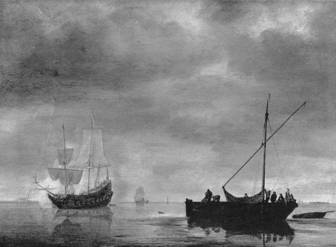 Симон де Влигер. Фрегат и рыбацкая лодка в спокойном море