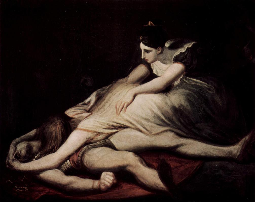 Johann Heinrich Fuessli. Krimhilda [02] embraces the dead Siegfried
